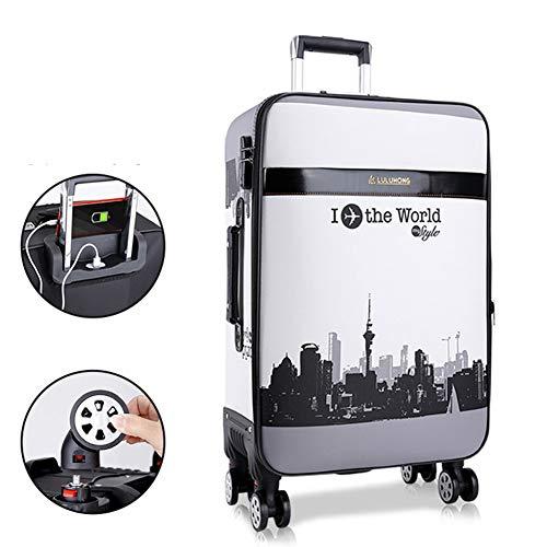 HLXB PU Reisekoffer für Teenager Jungen und Mädchen, Leichter Weichschale Koffer Trolleys für Studenten mit USB-Ladeanschluss, erweiterbare große Kapazität, mehrere Größen