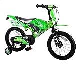 Bici Bicicletta Bambino Motobike 16 Pollici con Ruotine Rimovibili e Freno posteriore contropedale da 4 5 6 anni Verde