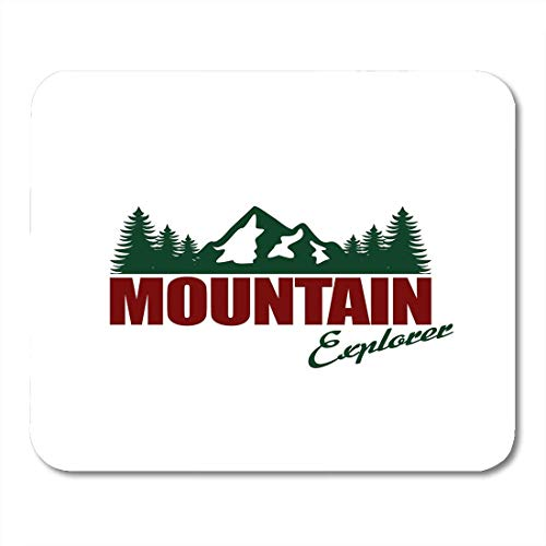Mouse Pads Mountain Nature Exploration Vintage Emblems Silhouettes and Design Outdoor Activity in Wilderness Symbols Mouse Pad for Notebooks,Desktop Computers Office Supplies