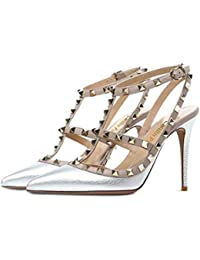Caitlin Pan Women Fashion High Heel Pointed Toe Ankle Straps Studs Stiletto Party Dress Sandals Studded