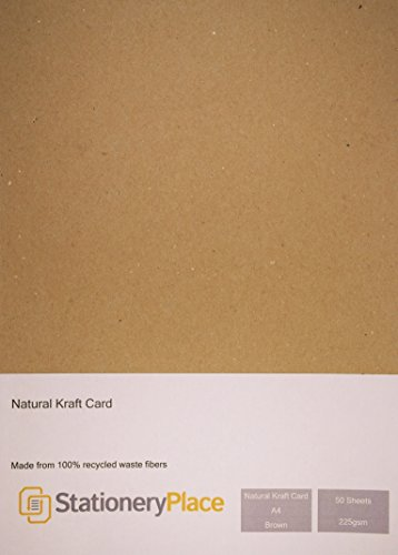 Stationery Place Natural Kraft Card - A4 - 225gsm (50) -