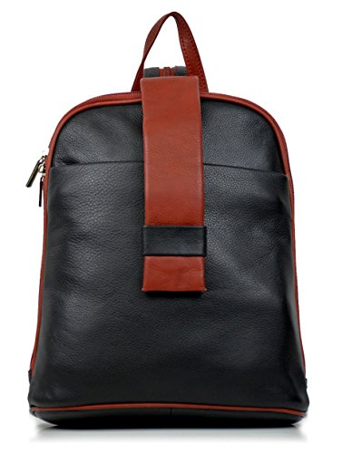DEVRAKH Damen Echtleder Rucksack City Pack Daypack Handtasche echt Leder Nappa Citybackpack (Schwarz-Rot)