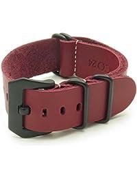 De cuero StrapsCo G10 zulúes correa de reloj de la OTAN en color rojo y negro/color negro tamaño de la hebilla de pre-V de 18 mm