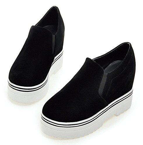 Aisun Damen Dicke Sohle Low-top Wildlederoptik Loafers Sneakers Schwarz