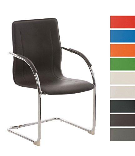CLP Freischwinger-Stuhl mit Armlehne MELINA V2, Konferenzstuhl / Besucherstuhl mit gepolsterter Sitzfläche braun