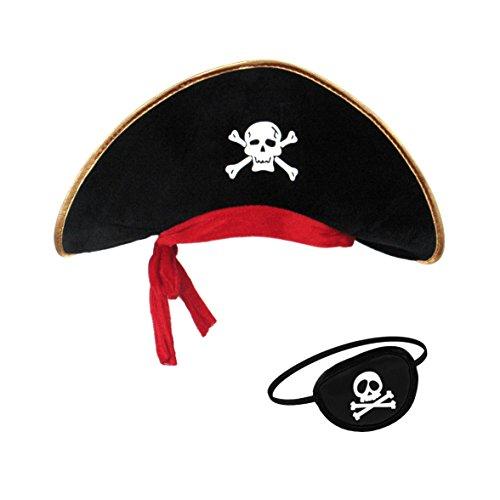 papapanda Piratenhut Augenklappe Set für Karibik Kapitän (Vampir Piraten Kostüme)