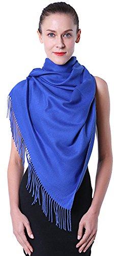 Fairycece Schal Blau Schal Winter Blau Schal Damen Blau Pashmina Schal Blau - 200x71cm (XXL)