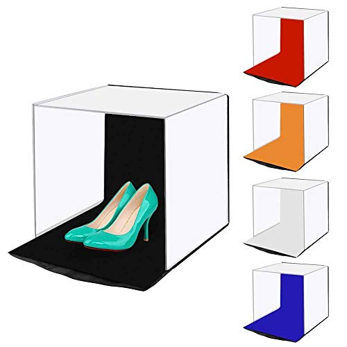 ZzWEI Portable Folding Softbox, Kleine Mini Shooting Tent Box Mit 5 Farben Hintergrund (Rot, Orange, Blau, Weiß, Schwarz) Lagerung Ist Einfach, 40 * 40 * 40Cm