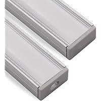 LED Alu Profil-PH1 (2000 x 18 x 8,5 mm) für breite LED Stripes bis 16 mm (z.B. für Philips Hue LightStrip) Aufbauprofil mit opaler Abdeckung und Endkappenset SO-TECH®