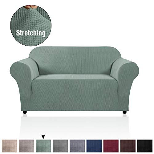 H.versailtex copridivano altamente elasticizzato 1 pezzo coprisofà, fondere per salotto divano a 2 posti, salvadivano per soggiorno, copridivano a 2 cuscini in jacquard lycra (divanetto: verde)