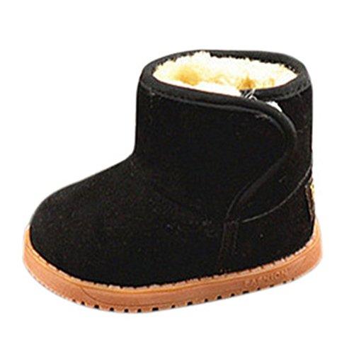 Fortuning's JDS Enfants unisexe Velcro Classique Bottes de neige Hiver Chaude Bottes de cheville Bottes courtes Tout-petits Noir