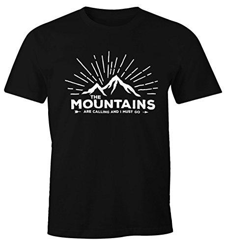 Herren T-Shirt - The Mountains are Calling and I must go - Wandern Berge Moonworks® Schwarz