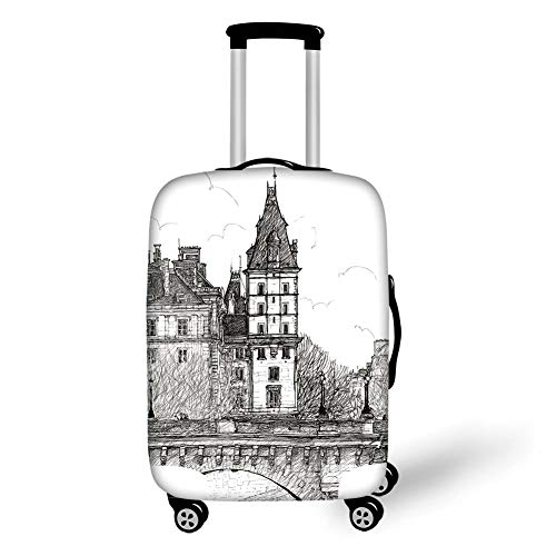 Travel Luggage Cover Suitcase Protector,Paris Decor,View from Pont Neuf Historical French Landmark Urban Architecture Drawing,Black and White,for Travel M (Koffer Leopard Hard-shell)