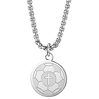 BE STEEL Edelstahl Halsketten Fußball für Männer Frauen Athleten Kreuz Halskette Herren Glauben Gebet Halskette Sport Medaille Anhänger Kette 56 cm