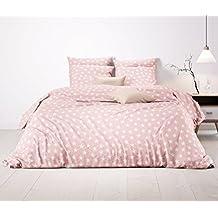 Aminata Bettwäsche Sterne rosa 155x220 cm Sternmotiv rose weiss Baumwolle Mädchen Teenager Pastell rosa * Komfortgröße Übergröße*