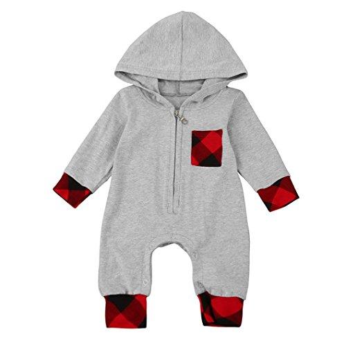 FNKDOR Baby 0-18 Monate Neugeborenes Jungen Mädchen Plaid Strampler mit Kapuze Overall Outfits Kleidung (Baby Mädchen Schlaf-kleidung)