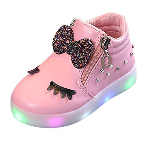 Scarpe bambino con luci bowknot, homebaby scarpe bambino calcio ginnastica eleganti bambini de ragazzi ragazze invernali caldo morbido stivaletti casual scarpe