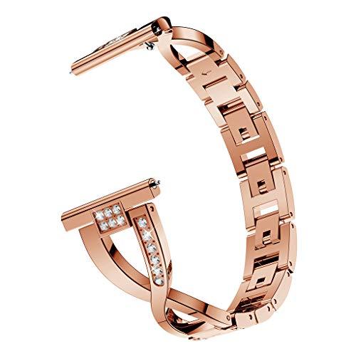 SYY Damen Universal Armbänder Strap Band,Edelstahl Rostfreier Stahl Kratzfest Wasserdicht Uhrenband,Ersatz-Metallkristall-Uhrenarmband-Armband für Samsung Galaxy Active (Rosa)