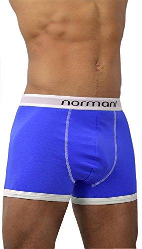 6 x normani® Herren Style Boxershorts aus Baumwolle mit Elasthan im 6er Pack Retro Blau