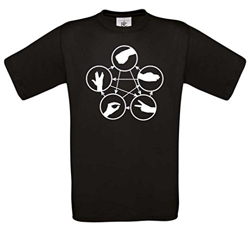 Rock Paper Scissors Lizard Spock maglietta da donna Mono 0219 nero Large