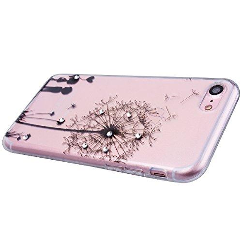 """WE LOVE CASE iPhone 7 4,7"""" Hülle Weich Silikon iPhone 7 4,7"""" Schutzhülle Handyhülle Im Durchsichtig Transparent Crystal Clear Diamant Glitzer Funkeln Mandala Muster Handytasche Cover Case Etui Soft TP Löwenzahn Paar"""