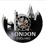 FQCJD Fantastico Orologio da Parete con Dischi in Vinile Paesaggio Urbano di Londra Movimento al Quarzo Silenzioso Decorazione della casa Regalo da Parete