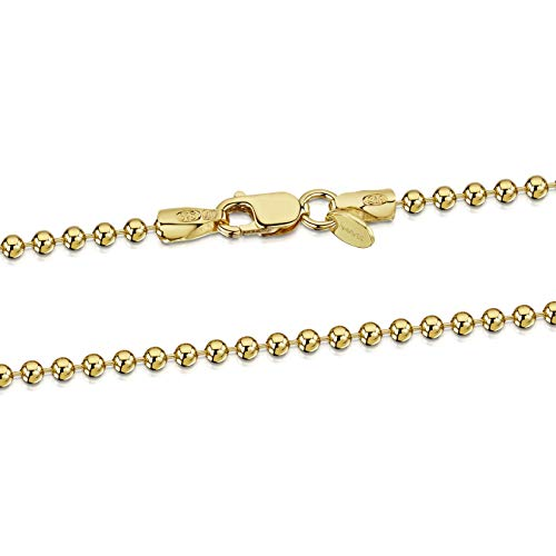 Amberta 925 Sterlingsilber Vergoldet 18K Damen-Halskette - Kugelkette - 2 mm Breite - Verschiedene Längen: 40 45 50 55 60 70 cm (70cm)