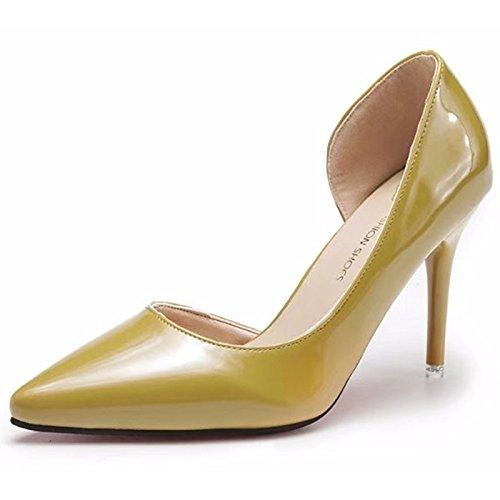 DIMAOL Scarpe da Donna in Gomma Comfort Estivo Tacchi Stiletto Heel Punta per Outdoor Arrossendo Rosa Beige Giallo Giallo