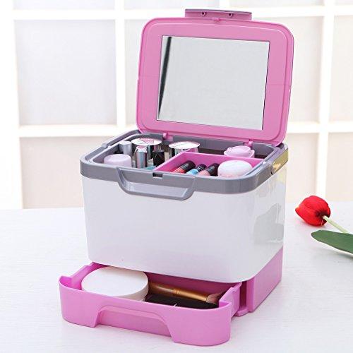 MMM Table recouverte d'un miroir de bijoux multi-couche cosmétique de stockage boîte de rangement cosmétiques Cases ( Couleur : Rose )