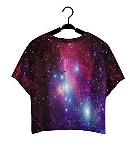 Pretty321 Women Girl Lovely Blouse Galaxy Stars Sky Nebula 3D Crop Top Cute T shirt Amazon