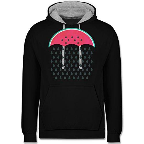 Statement Shirts - Watermelon Rain - Kontrast Hoodie Schwarz/Grau Meliert
