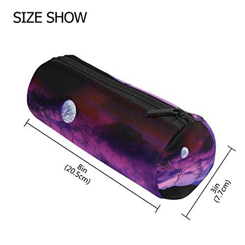 Bleistift Fall Zylinder Form Halter Bright Moon Tree Midnight Werwolf Stift Stationery Tasche Tasche mit Reißverschluss Make-up