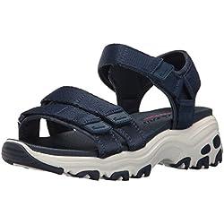 Skechers Cali Women's D'Lites-Fresh Catch Wedge Sandal, Navy, 5 M US