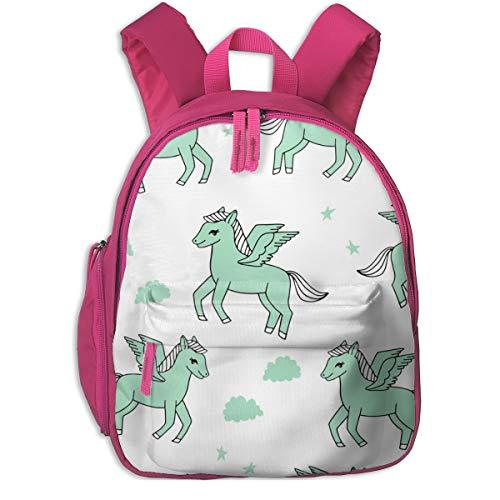 Kinderrucksack für Mädchen, Pegasus Stoff Cute Pegasus Whimsical Fantasy Stoff Für Mädchen Cute Baby Nursery Design - Mint and White_5597 - Andrea_Lauren, Für Kinderschulen Oxford Stoff (pink)