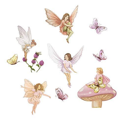 Decalmile fata adesivi da parete con ali farfalle decorazione parete stickers murali per ragazze camerette bambini