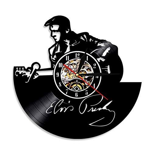 GUAzho Wall Clock Variety Of Creative Vinyl Record Personality Retro Nostalgic European Decorative Wall Clock, H Black -30 * 30Cm