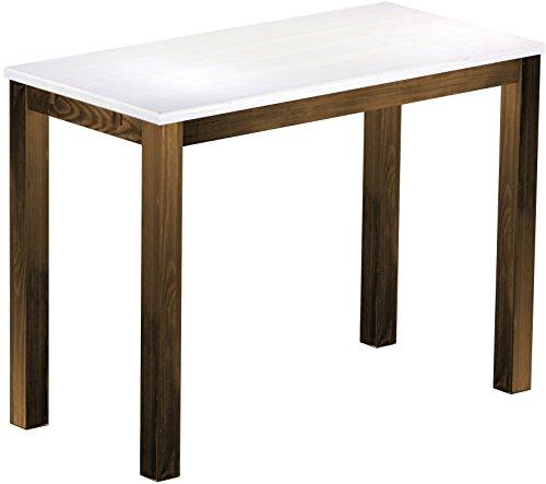 Brasil Meubles Haut 'Rio Classico' Table 150 x 73 cm, Pin Massif, Teinte Snow – Chêne Antique