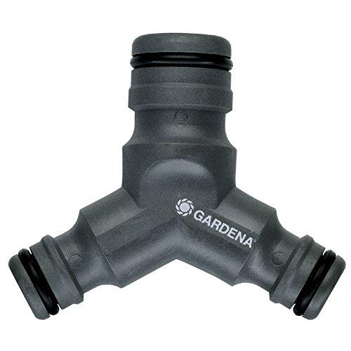 Dérivation-réducteur en Y grand débit de GARDENA : robinet à deux voies pour le fonctionnement simultané de deux dispositifs d'arrosage (2834-20)
