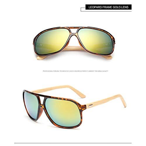 Taiyangcheng Spiegel Ursprüngliche Holz Sonnenbrille Frauen Mode Fahren Großen Rahmen Googles Männer Holz,Leopard Gold
