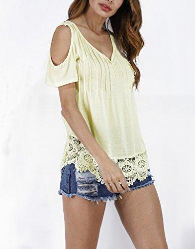 Smile YKK Blouse Eté Femme T-shirt Chemise Epaule Nue Manches Courtes Col V Top Casual Plage Jaune