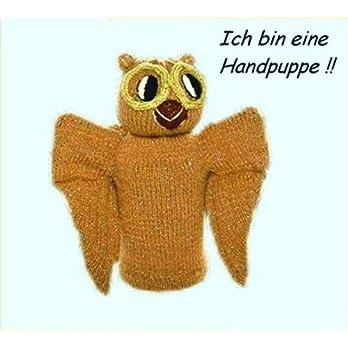 Handpuppe, handgestrickt, Eule, Uhu