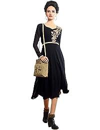 Swara Fashion Women's Faux Georgette Black Kurti