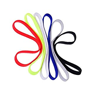 Lvcky 6 Pieces Elastic Sport Headbands Yoga Headbands Head Sweatband for Women and Men, 6 Colors