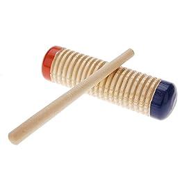 ammoon bois Guiro Shaker bébé enfant pédagogique précoce Instrument de musique rythme Beats Jouet Percussion Outils avec Mallet