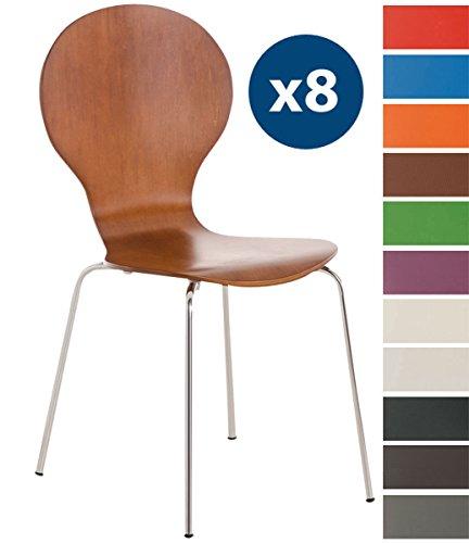 Clp set 8 sedie impilabili diego con seduta in legno robusto | sedia attesa con telaio in metallo | sedia ergonomica e facile da pulire | sedia conferenza marrone