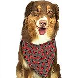 Hipiyoled Pet Bandanas Little Ladybug Pattern Art Adjustbable Collars Pet Bandana Bibs for Puppy Cats