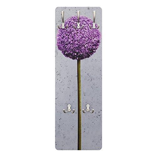 Wandgarderobe + Haken Wandmontage Blumen Allium Kugel Blüten 139 x 46 cm