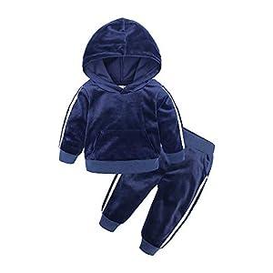 BEDHRT Conjunto de chándales de manga larga con capucha, abrigo, pantalón de forro polar, otoño, invierno cálido 2