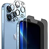 Rekletier [2 PACK] Privacy Screen Protector Compatible with iPhone 13 Pro Max with Camera Lens Protector, Full Coverage Anti-