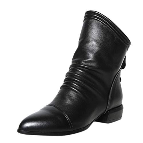 Dragon868 stivali donna scarpe basse pelle nero irregolare scarpe retro pieghe con cerniera scarpe gomma 35-42
